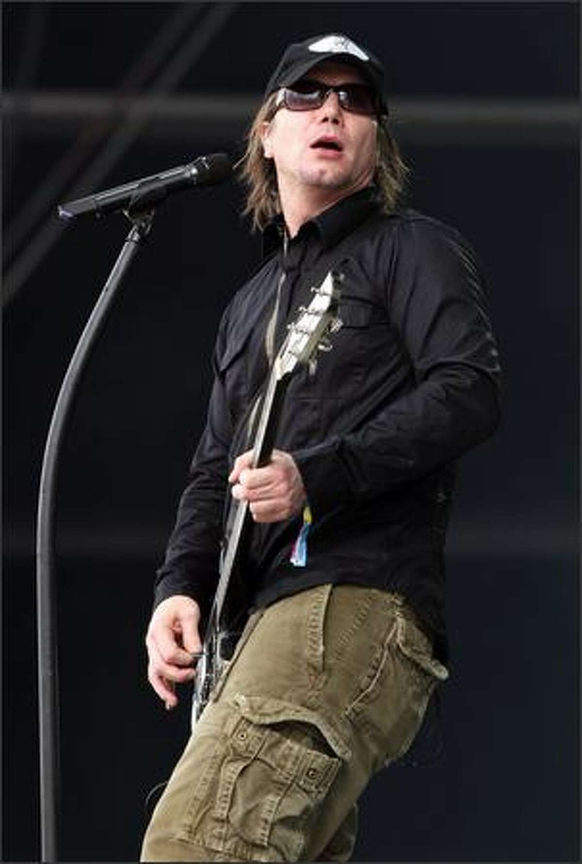 John Rzeznik of the Goo Goo Dolls performs on the main stage during day 4 of the O2 Wireless Festival 2008 on Sunday in London, England.