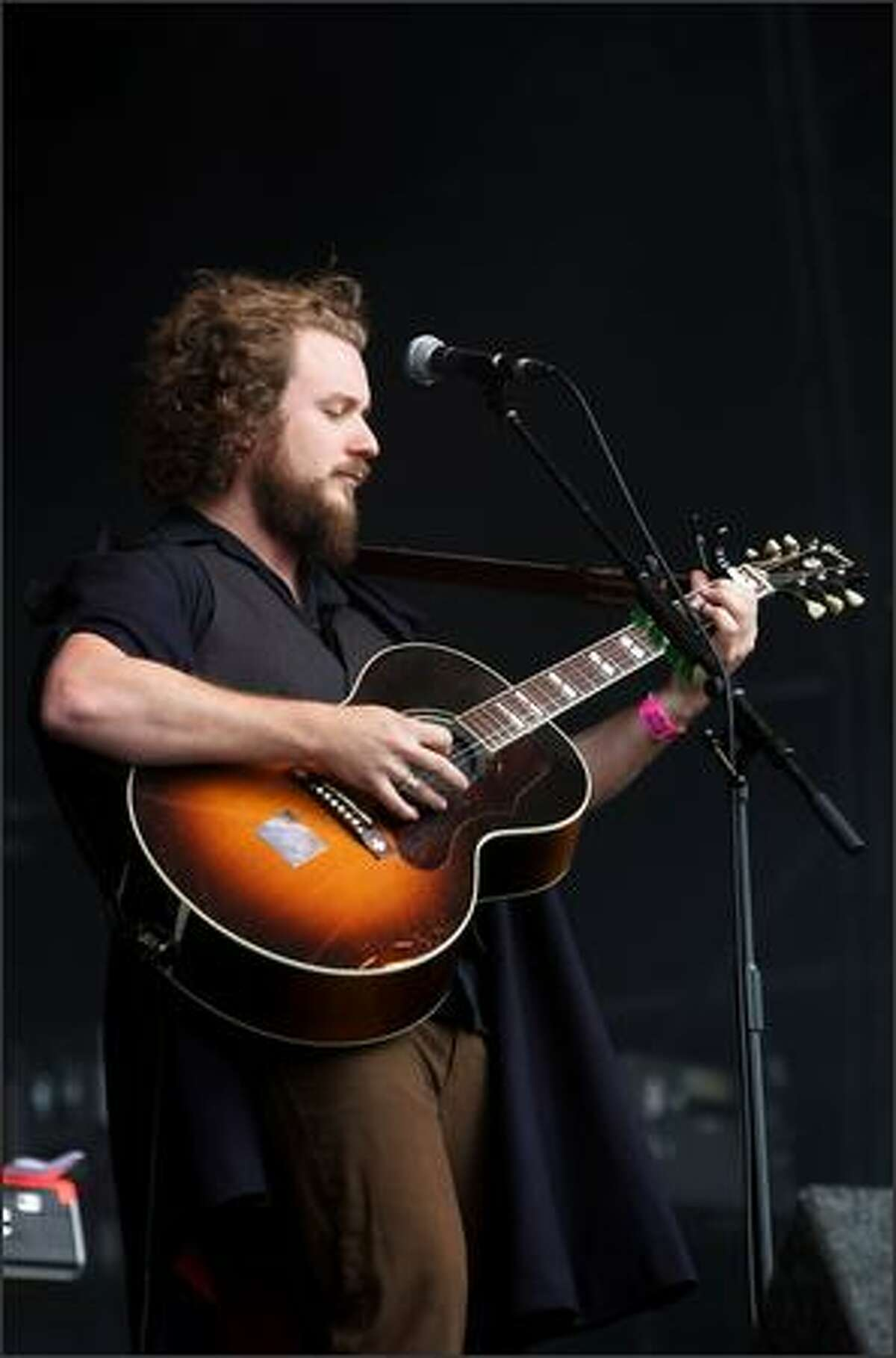 Singer Jim James of American rock band My Morning Jacket performs live on stage during The Hop Farm Festival at The Hop Farm on Sunday in Paddock Wood, Kent, England.