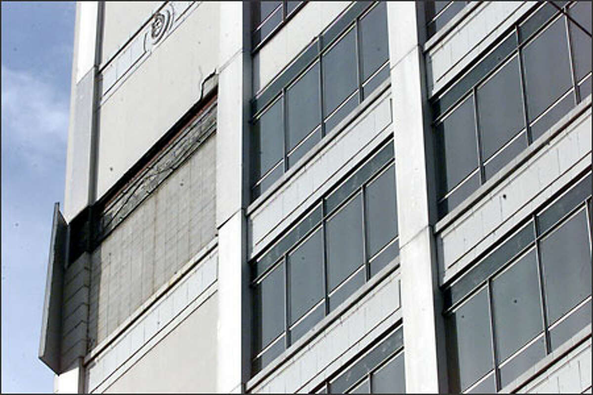High winds broke off pieces from the facade of the Nordstrom Rack building downtown.