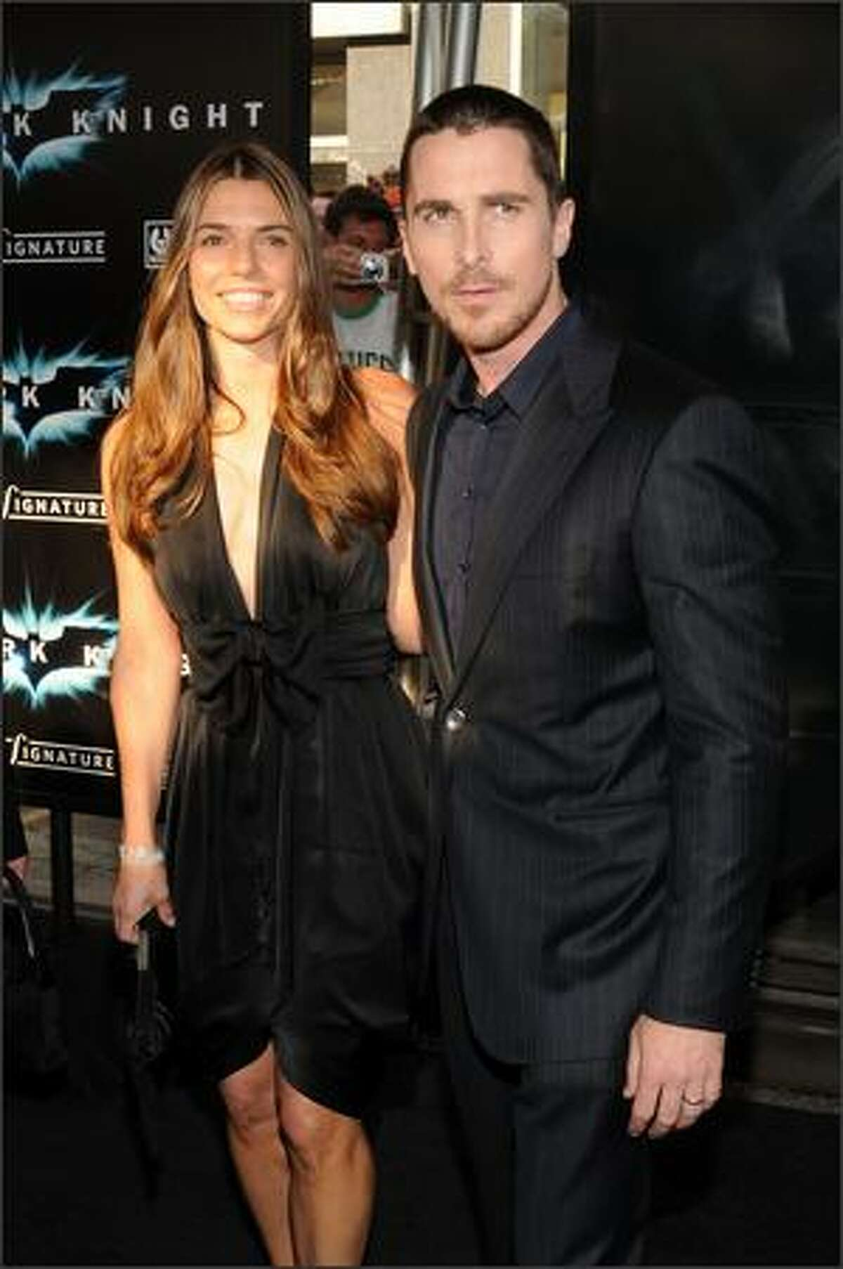 Actor Christian Bale and guest arrive at the world premiere of