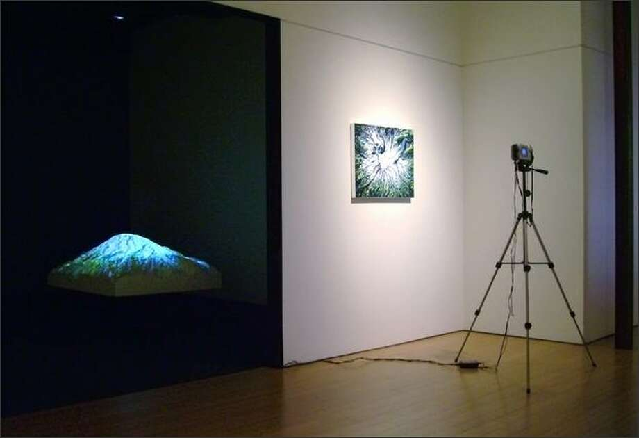 "Scott Bailey's ""Above Rainier,"" acrylic on canvas, camera, tripod, live video on sculpture. Photo: Courtesy Lawrimore Project"