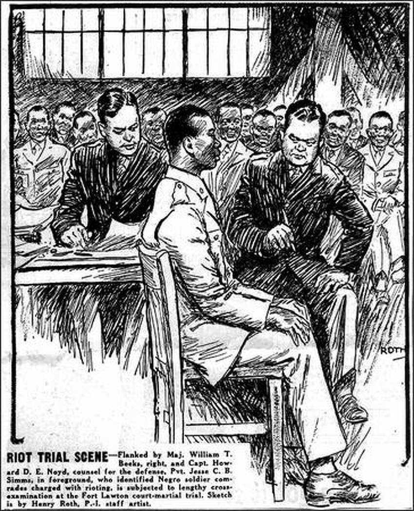 Published Nov. 23, 1944: Flanked by Maj. William T. Beeks, right, and Capt. Howard D.E. Noyd, counsel for the defense, Pvt. Jesse C. B. Simms, in foreground, who identified Negro soldier comrades charged with rioting, is subjected to lengthy cross-examination at the Fort Lawton court-martial trial. Sketch is by Henry Roth, P.-I. staff artist.