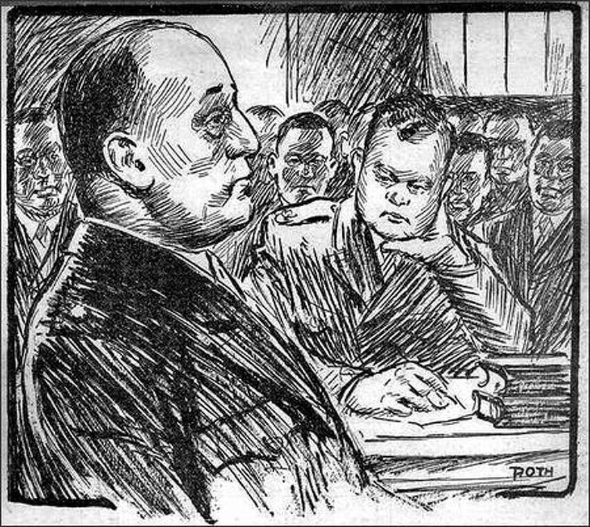 Published Nov. 30, 1944: Maj. Robert H. Manchester, who directed the first investigation of last August's fatal riot at Fort Lawton, testifying at the general court martial which is trying 42 Negro soldiers for the affray. The sketch was made in court yesterday by Henry Roth, Post-Intelligencer staff artist. At right is Maj. William T. Beeks, chief defense counsel, who was an admiralty lawyer in Seattle before entering the army.