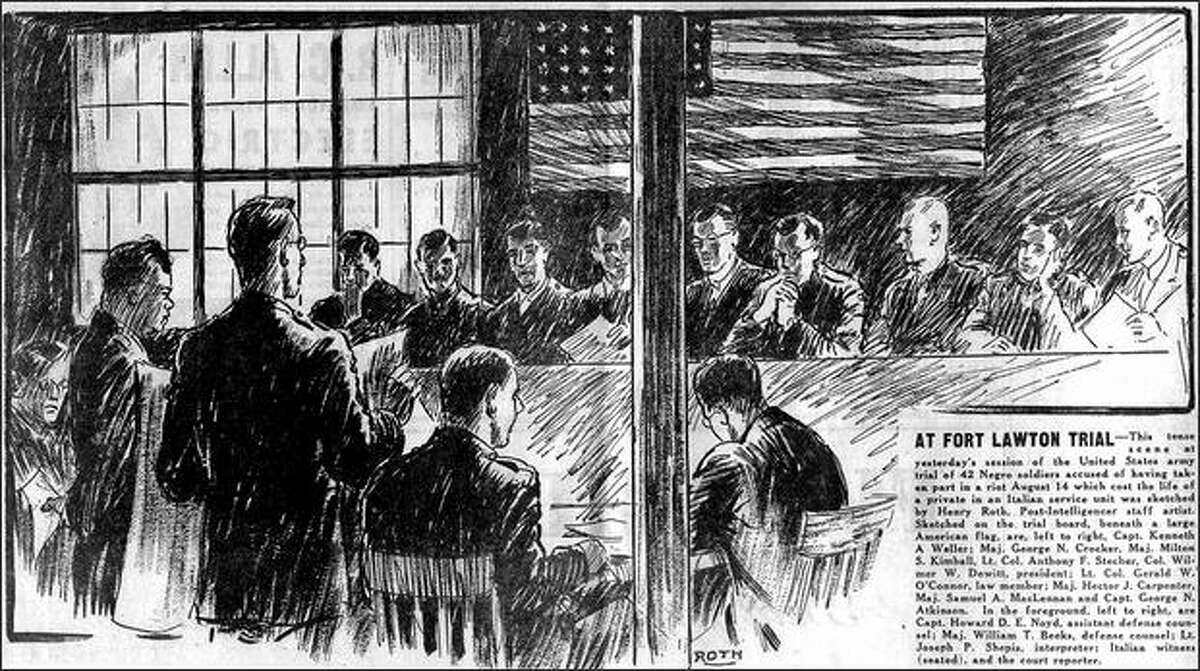 Published Nov. 21, 1944: This tense scene at yesterday's session of the United States army trial of 42 Negro soldiers accused of having taken part in a riot August 14 which cost the life of a private in an Italian service unit was sketched by Henry Roth, Post-Intelligencer staff artist. Sketched on the trial board, beneath a large American flag, are, left to right, Capt. Kenneth A. Weller; Maj. George N. Crocker, Maj. Milton S. Kimball, Lt. Col. Anthony F. Stecher, Col. Wilmar W. Dewitt, president; Lt. Col. Gerald W. O'Connor, law member; Maj. Hector J. Carpenter, Maj. Samuel A. MacLennan and Capt. George N. Atkinson. In the foreground, left to right, are Capt. Howard D.E. Noyd, assistant defense counsel; Maj. William T. Beeks, defense counsel; Lt. Joseph P. Shepis, interpreter; Italian witness (seated), and the court reporter.