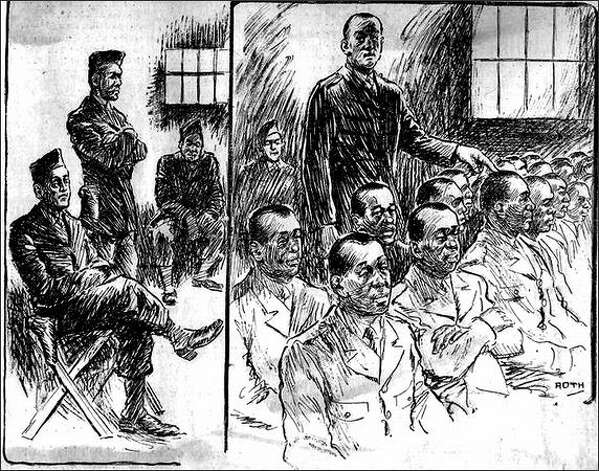 Published Nov. 25, 1944: The pen of Henry Roth, Post-Intelligencer staff artist, portrays two scenes at the general court-martial of 42 Negro soldiers charged with rioting at Fort Lawton last August. Left, three of the military guards stationed in the court room. Right, Pvt. Thomas Battle, a Negro soldier, taps the head of a defendant who he says was one of the rioters who stormed the barracks of former Italian prisoners of war. Photo: Seattle Post-Intelligencer / SL