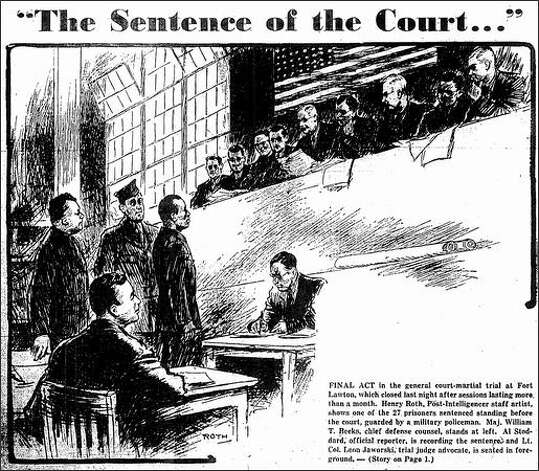 Published Dec. 19, 1944: Final act in the general court-martial trial at Fort Lawton, which closed last night after sessions lasting more than a month. Henry Roth, Post-Intelligencer staff artist, shows one of the 27 prisoners sentenced standing before the court, guarded by a military policeman. Maj. William T. Beeks, chief defense counsel, stands at left. Al Stoddard, official reporter, is recording the sentence, and Lt. Col. Leon Jaworski, trial judge advocate, is seated in foreground. Photo: Seattle Post-Intelligencer