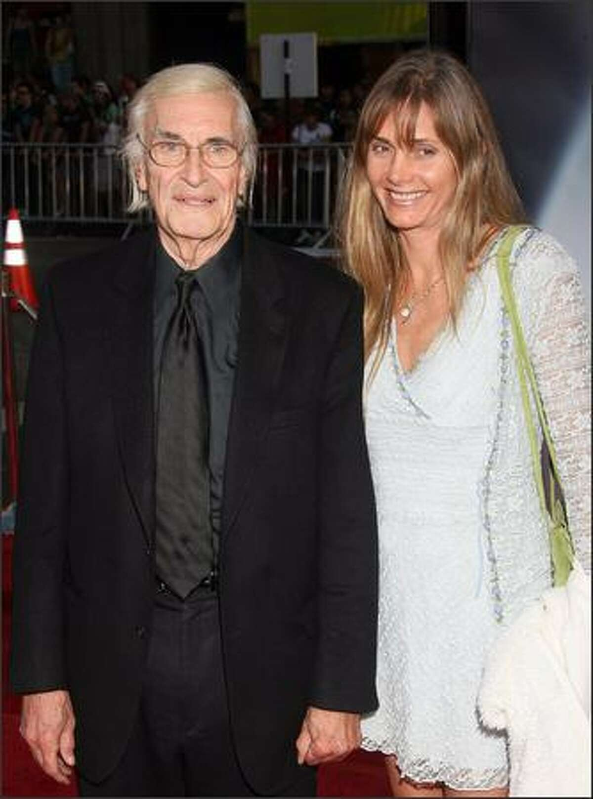 Actor Martin Landau and Gretchen Becker arrive for the premiere of
