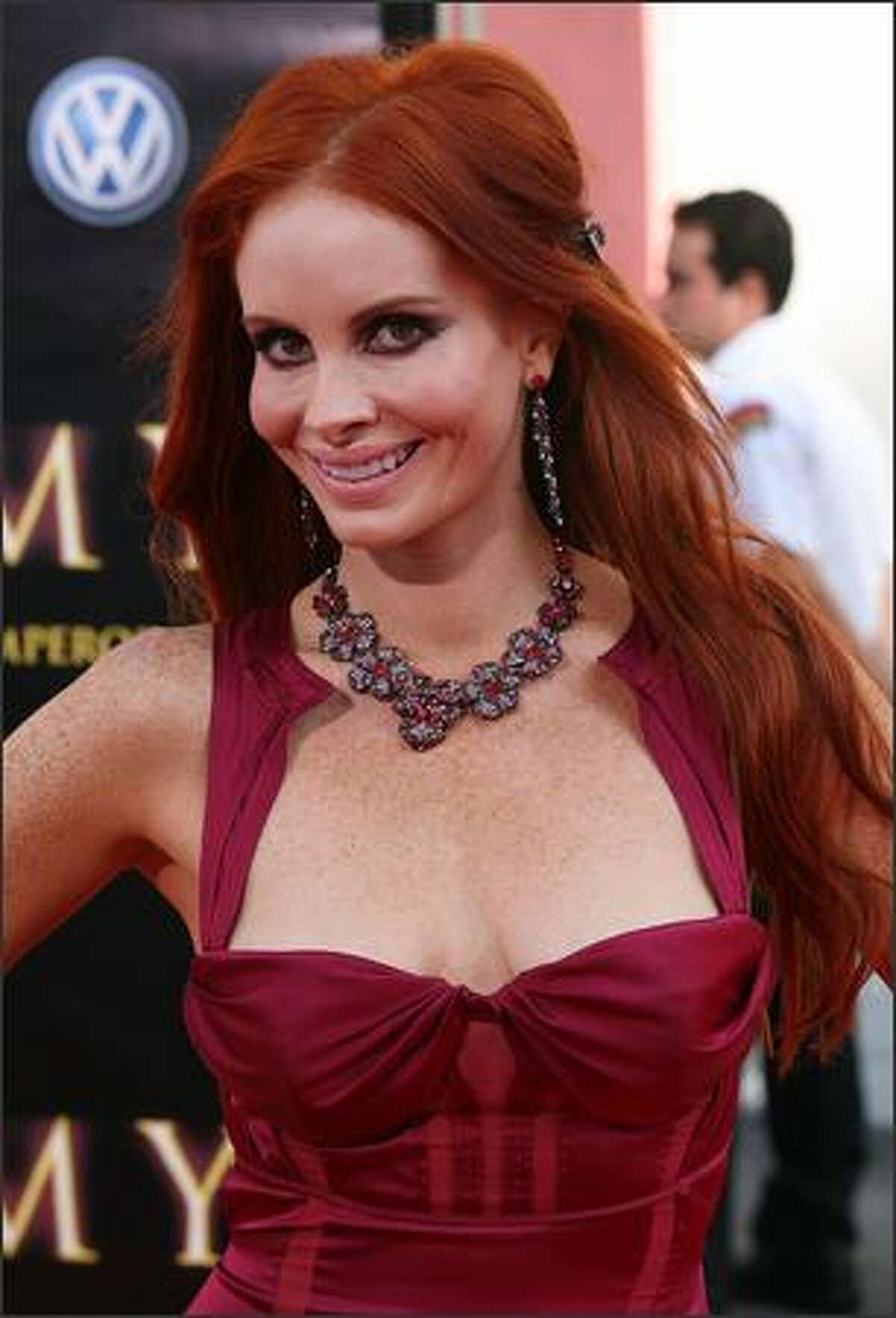 """Actress Phoebe Price attends the premiere of Universal Picture's """"The Mummy: Tomb of the Dragon Emperor"""" at the Gibson Amphitheatre at Universal City Walk in Los Angeles, California."""