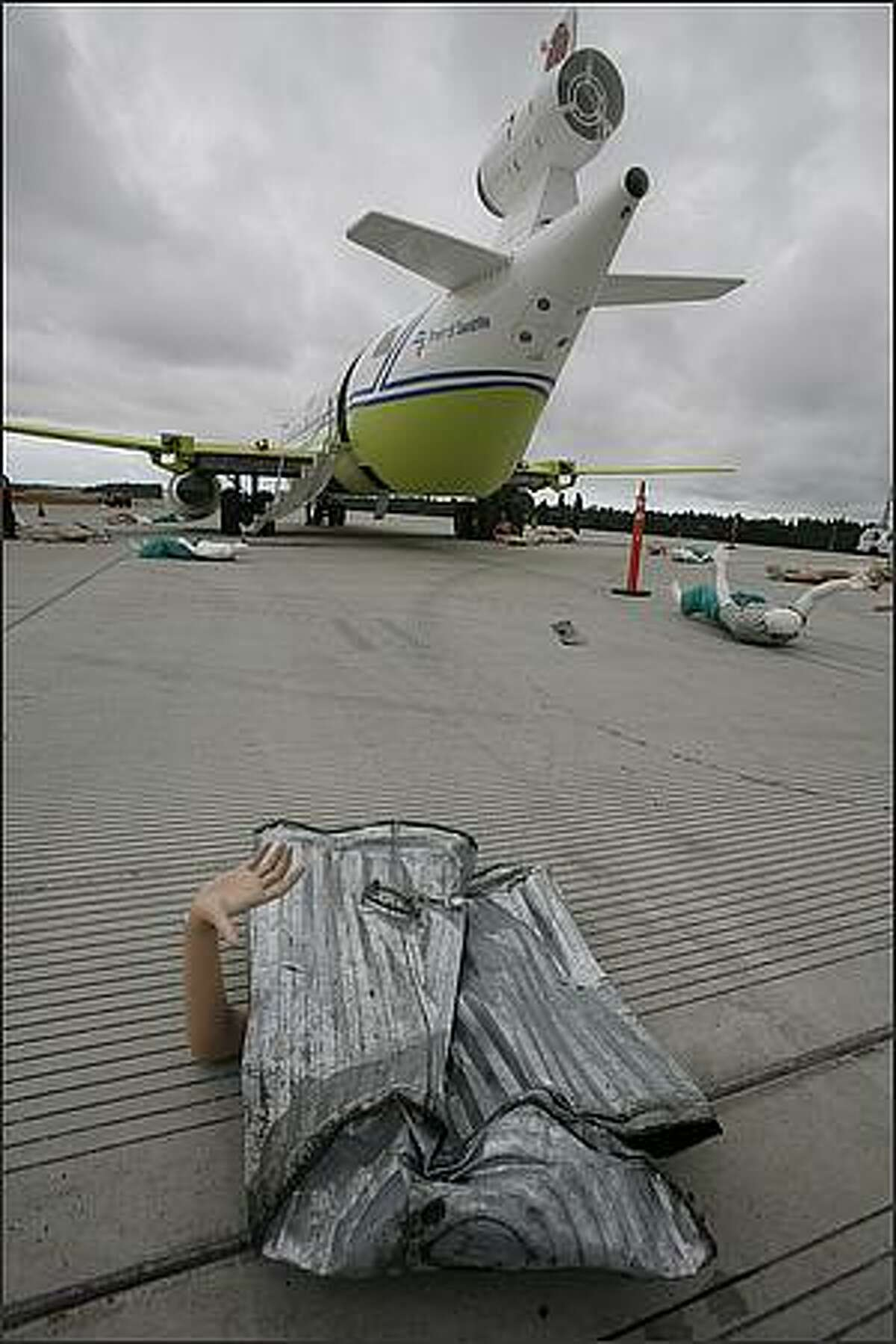 A body part on Seattle-Tacoma International Airport during a airplane crash preparedness exercise.