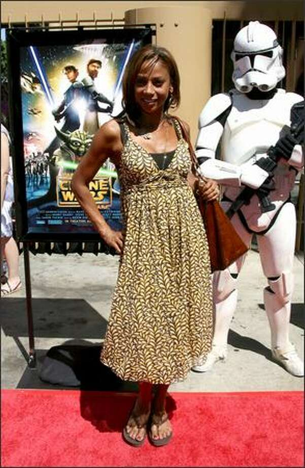 """Actress Holly Peete Robinson arrives at the premiere of """"Star Wars: The Clone Wars"""" at the Grauman's Egyptian Theatre in Los Angeles, California. Photo: Getty Images"""