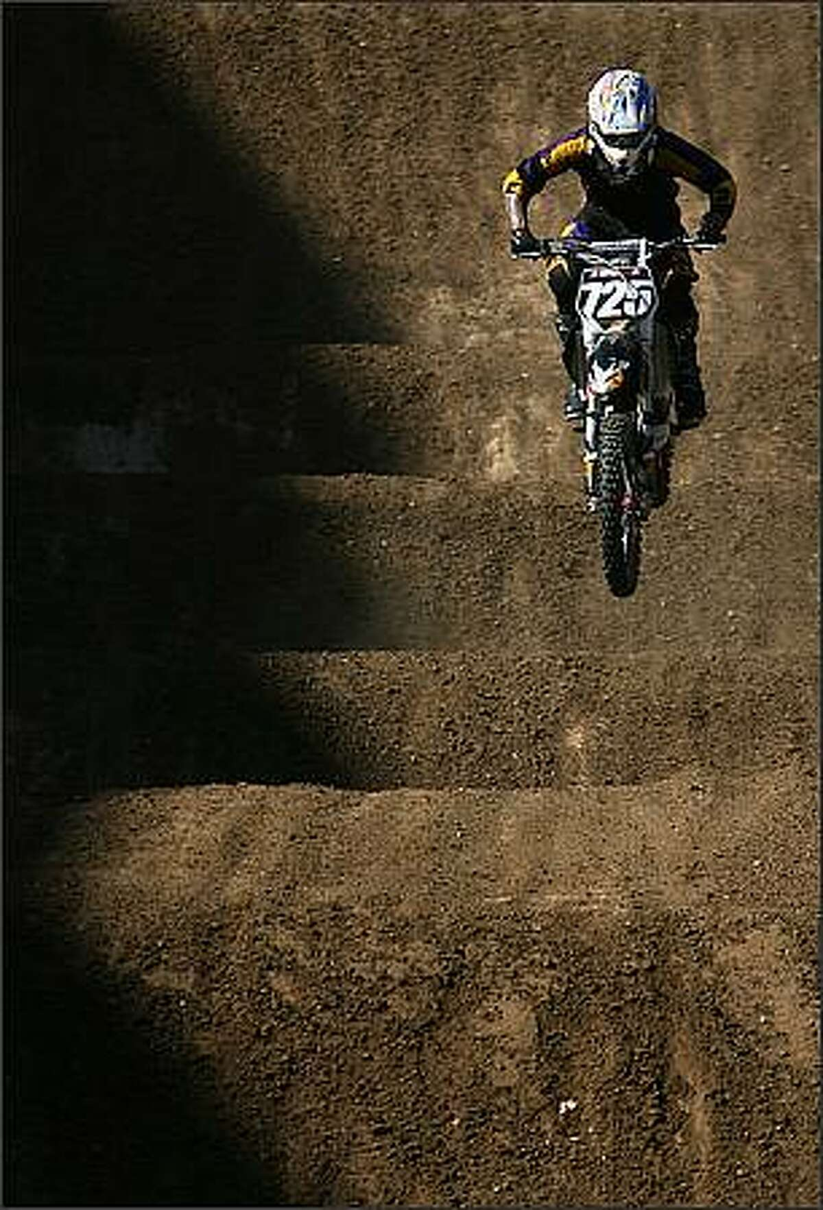 Logan Darien practices on the Moto X Racing course during the Summer X Games 14 at Home Depot Center in Carson, California. (Photo by Christian Petersen/Getty Images)