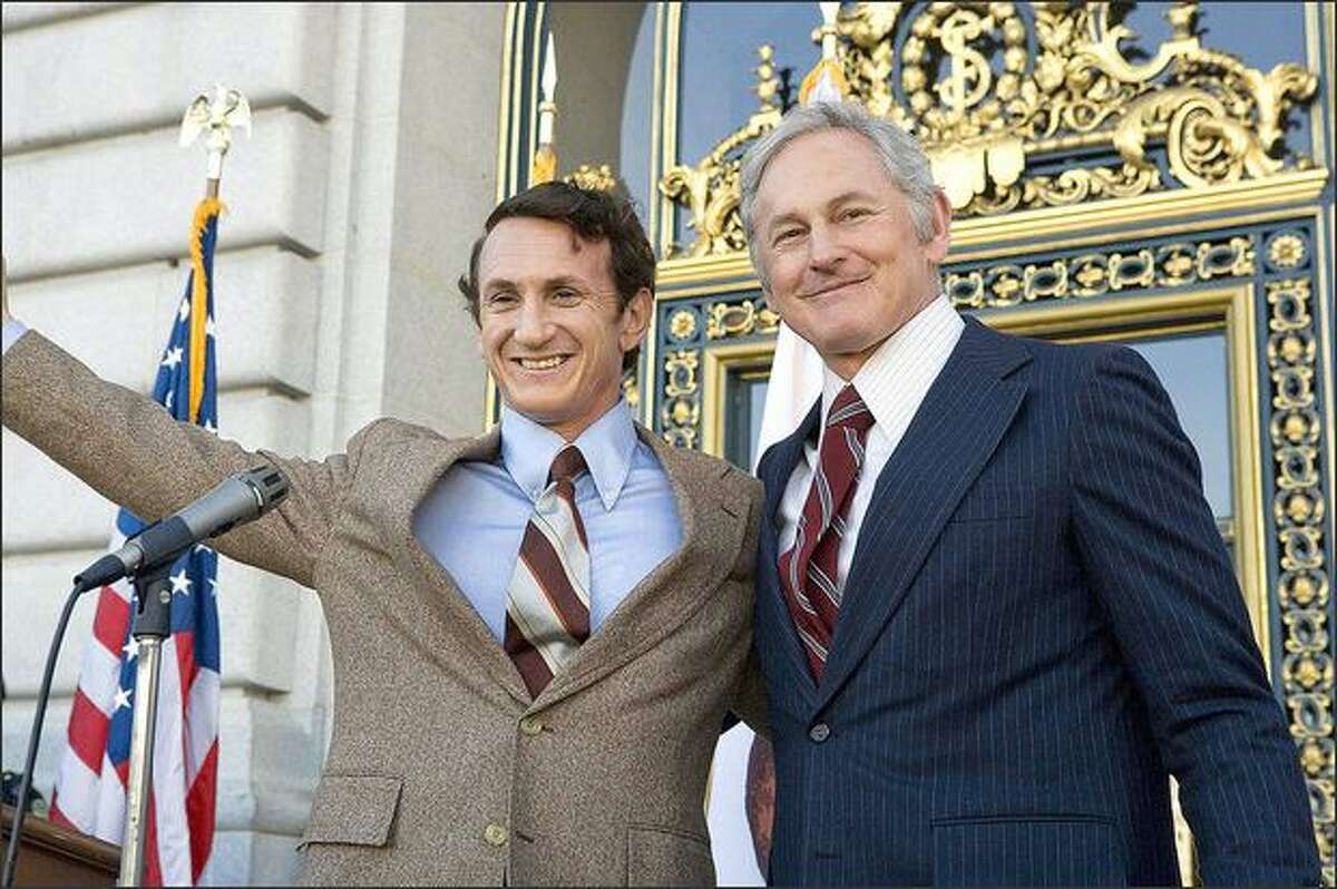 """""""Milk,"""" Sean Penn, left, and Victor Garber star as real-life gay rights icon Harvey Milk and San Francisco Mayor George Moscone."""