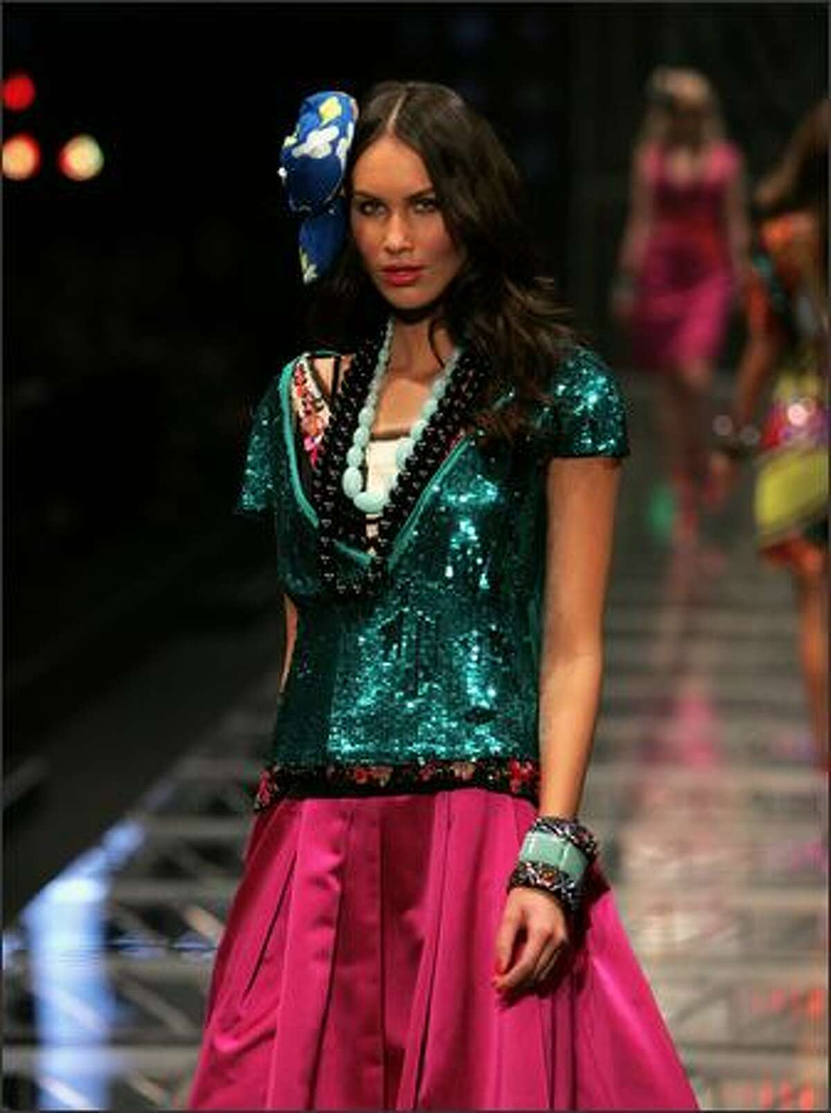 A model showcases designs by Trelise Cooper on the catwalk at the David Jones Summer 2008 Collections Launch 'Summer In The City' event at the Royal Hall of Industries in Sydney, Australia.