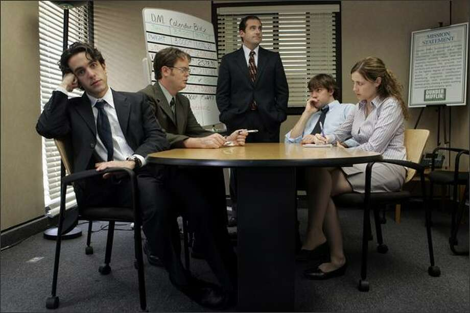 "From left, BJ Novak as Ryan Howard, Rainn Wilson as Dwight Schrute, Steve Carell as Michael Scott, John Krasinski as Jim Halpert, and Jenna Fischer as Pam Beesly in NBC's ""The Office."" (Paul Drinkwater/NBC Universal)"