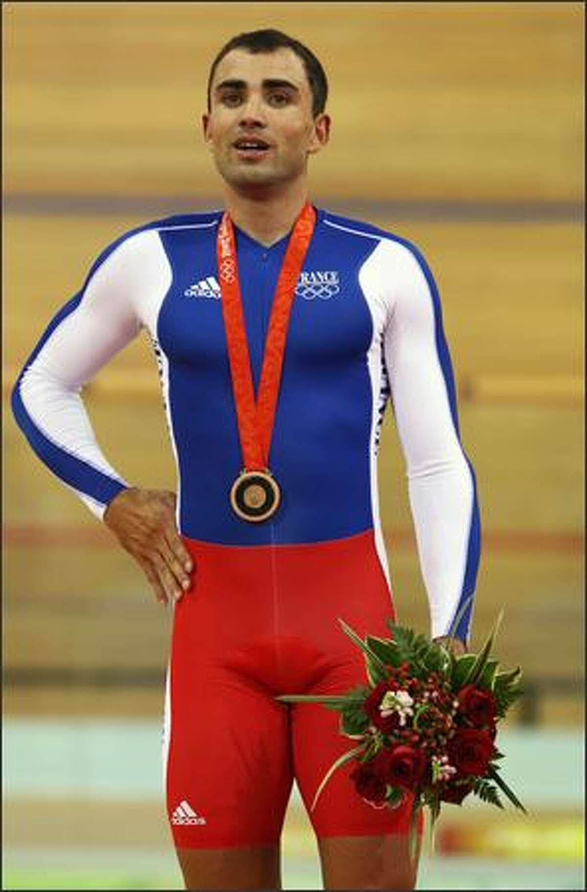 Bronze medalist Mickael Bourgain of France poses after the Men's Sprint Finals in the track cycling event at the Laoshan Velodrome on Day 11 of the Beijing 2008 Olympic Games on Tuesday.