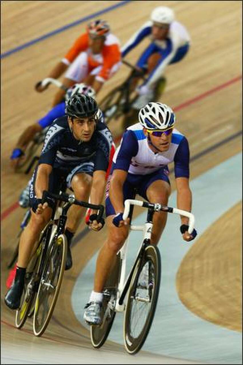 Competitors cycle in the Men's Madison at the Laoshan Velodrome on Day 11 of the Beijing 2008 Olympic Games on Tuesday.
