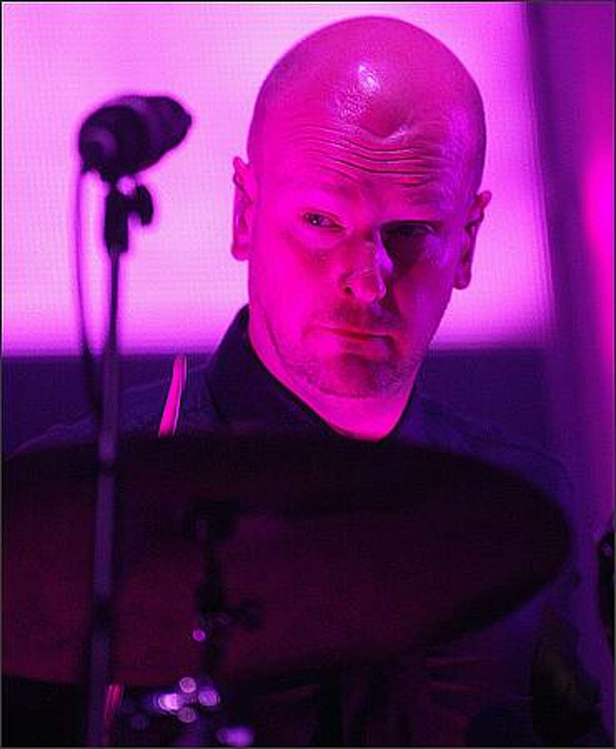 Radiohead drummer Phil Selway in concert at White River Amphitheatre.