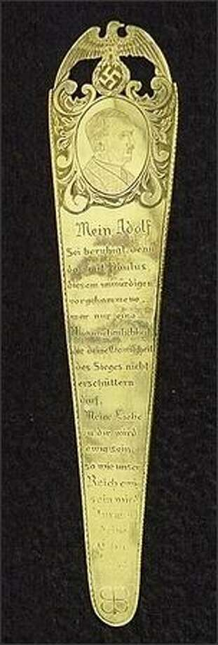 The bookmark given to Adolf Hitler by Eva Braun in 1943. Photo: /