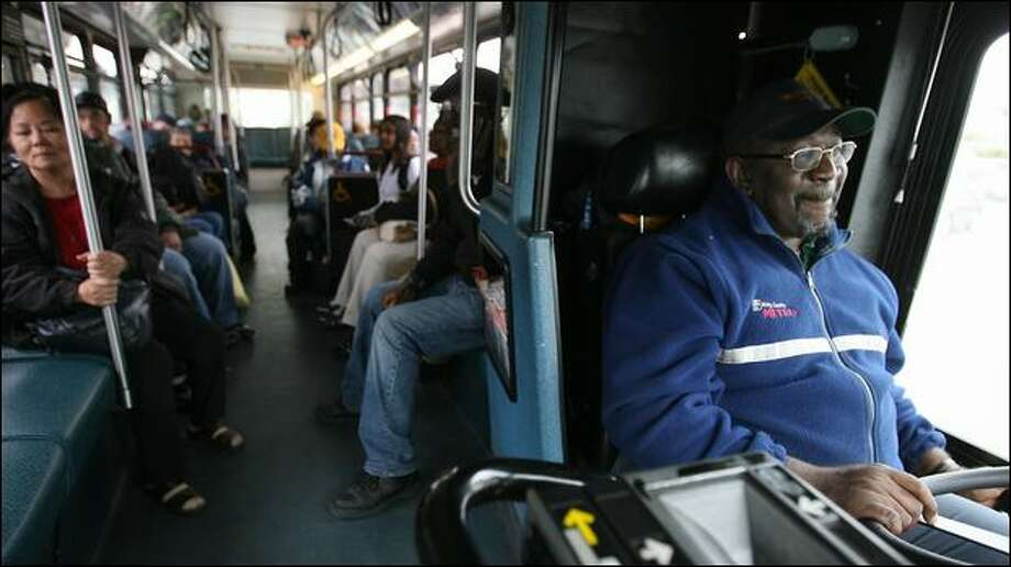Metro bus driver Eddie Toomer pilots the No. 7 bus from Rainier Valley to downtown Seattle. According to a Seattle P-I analysis of Metro reports, roughly 150 assaults against drivers are reported annually, having struck a high in 2006 of 189 reported attacks. Photo: Scott Eklund/Seattle Post-Intelligencer