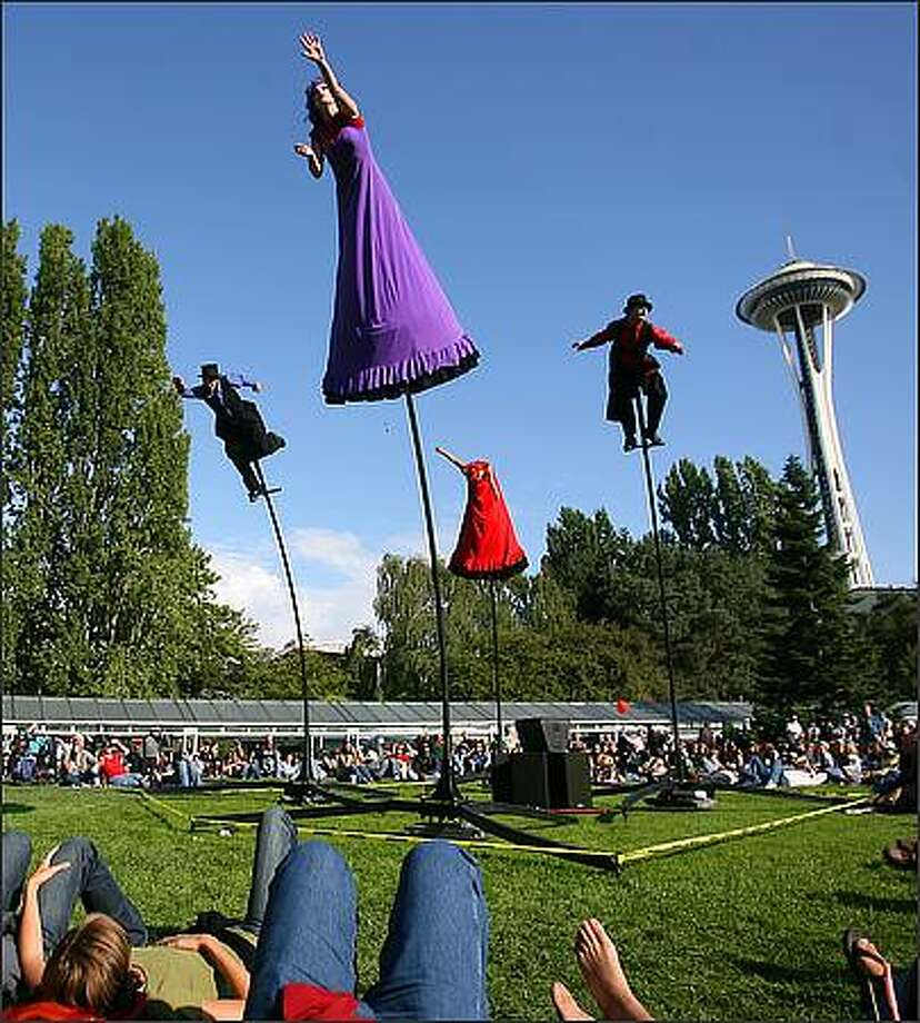 The Austrailian performing arts group Strange Fruit perform their routine  Strange Fruit is a Melbourne-based performing arts company that produces and performs a style of work that fuses theater, dance and circus. Photo: Scott Eklund, Seattle Post-Intelligencer