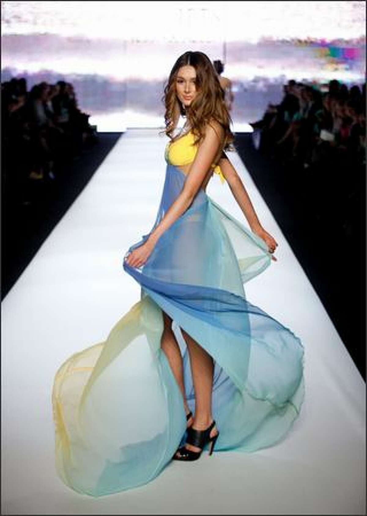 A model showcases Jets By Jessica Allen designs on the catwalk as part of the inaugural Rosemount Sydney Fashion Festival 2008 at Martin Place in Sydney, Australia.