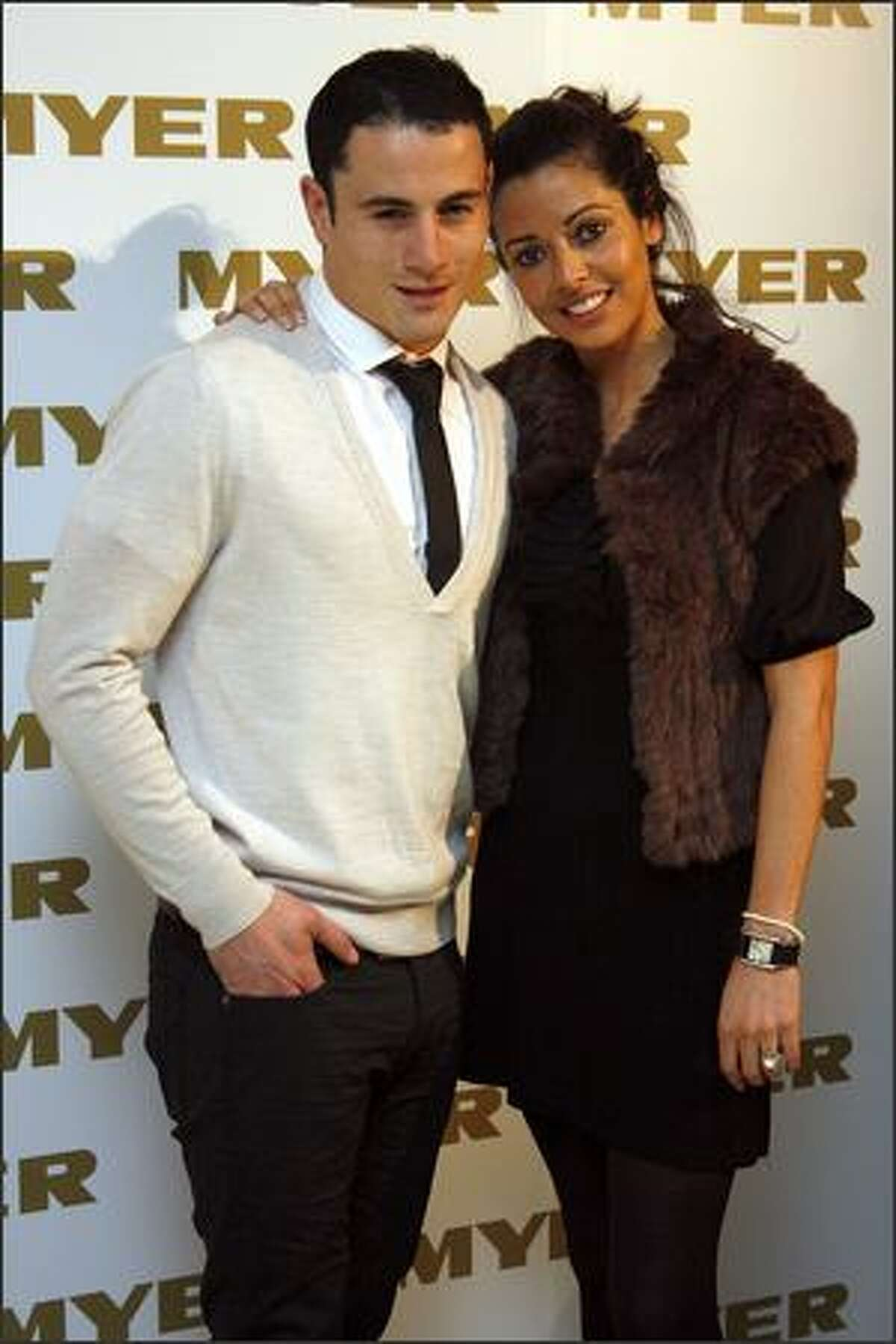 Paul Licuria and Barbara Hawley-Licuria arrive for the official cocktail launch party for the Myer Spring Racing fashion range at the The Deck, Prince Hotel on Wednesday in Melbourne, Australia.