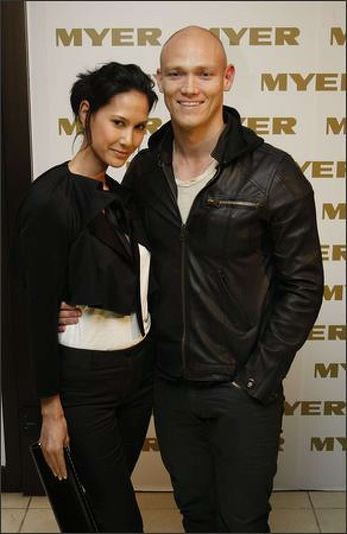 Michael Klim and wife Lindy Rama arrive for the official cocktail launch party for the Myer Spring Racing fashion range at the The Deck, Prince Hotel on Wednesday in Melbourne, Australia.