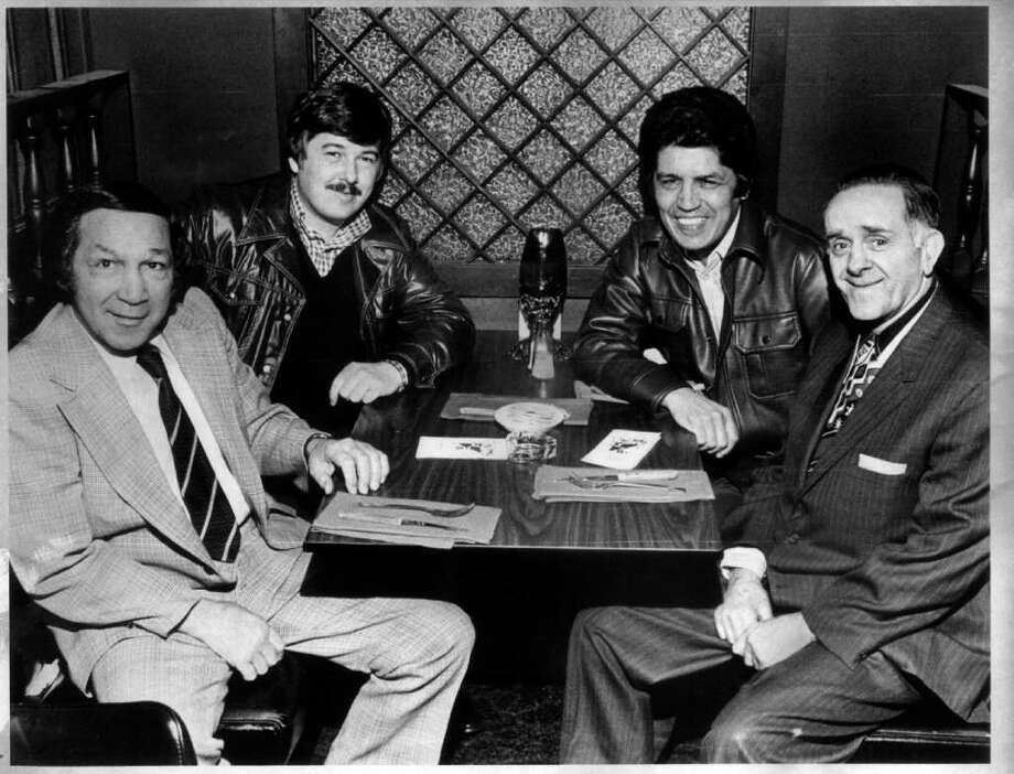 Fifty years ago today Stamford's Chico Vejar announced his retirement from boxing. In this April 9, 1975 he joins other boxing luminaries gathered for final plans to bring professional boxing back to Stamford. Left to right, former world featherweight  champion Willie Pep, Ptl. Vincent Hatterman of sponsoring Stamford Police Association, Vejar, who was the state boxing commissioner  and Kayo Morgan, onetime boxing great from Stamford. Photo: File Photo / Stamford Advocate File Photo