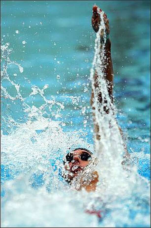Aaron Peirsol of the United States competes in the Men's 200m Backstroke Semifinal 1 held at the National Aquatics Centre during Day 6 of the Beijing 2008 Olympic Games in Beijing, China. (Photo by Clive Brunskill/Getty Images)