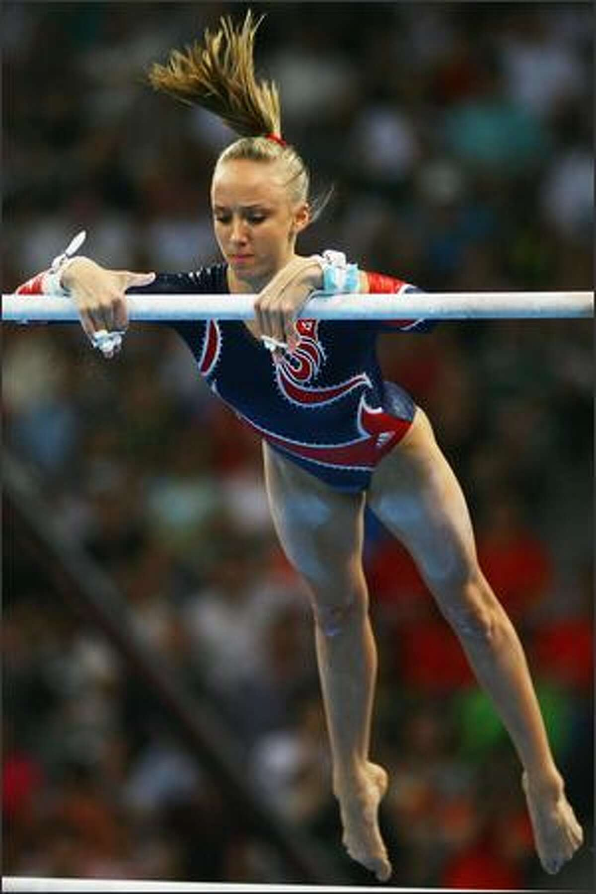 Nastia Liukin of the United States competes in the women's uneven bars final during the artistic gymnastics at the National Indoor Stadium event on Day 10 of the Beijing 2008 Olympic Games on Monday.
