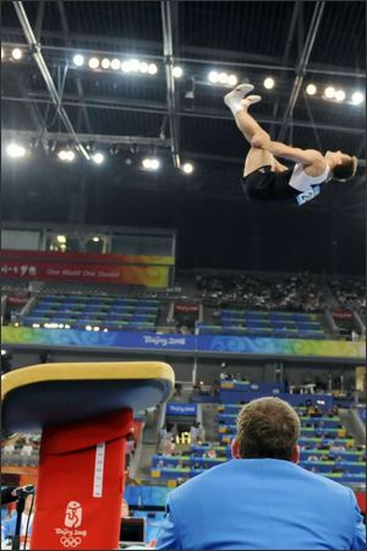 Poland's Leszek Blanik competes in the men's vault final of the artistic gymnastics event of the Beijing 2008 Olympic Games in Beijing on Monday. Poland's Leszek Blanik won the gold, France's Thomas Bouhail the silver and Russia's Anton Golotsutskov the bronze.
