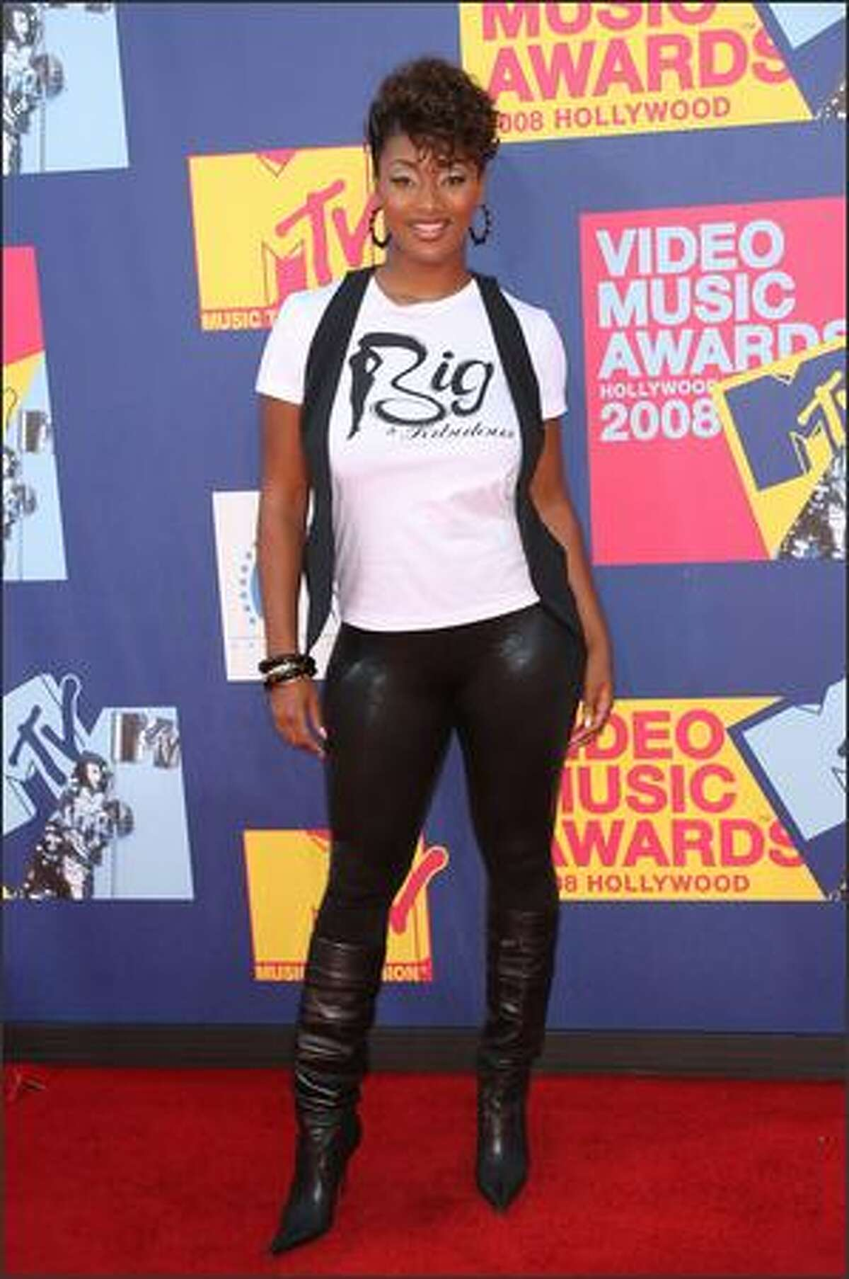 Model Toccara arrives at the 2008 MTV Video Music Awards at Paramount Pictures Studios on Sunday in Los Angeles, California.