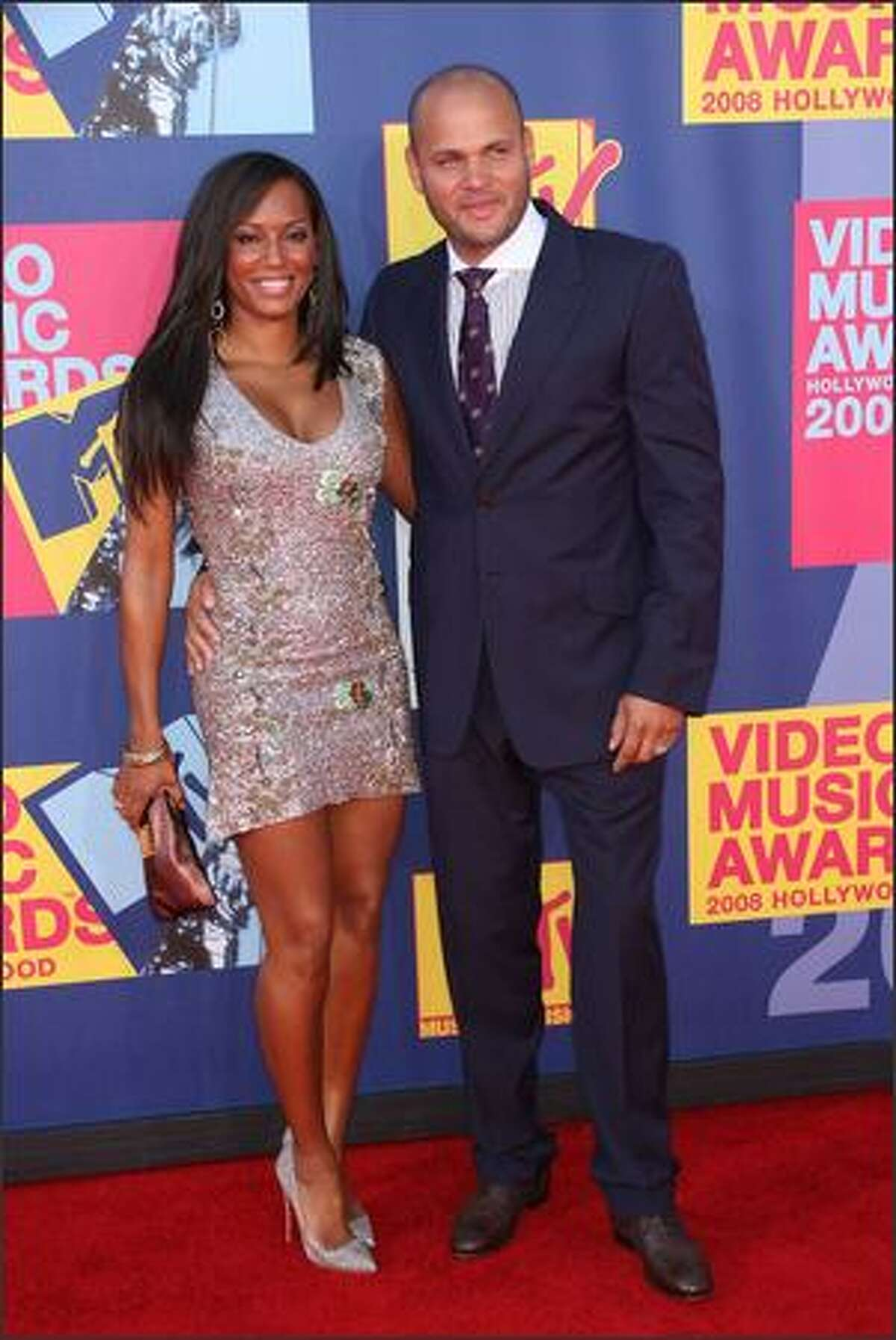 Singer Melanie Brown, left, and Stephen Belafonte arrive at the 2008 MTV Video Music Awards at Paramount Pictures Studios on Sunday in Los Angeles, California.