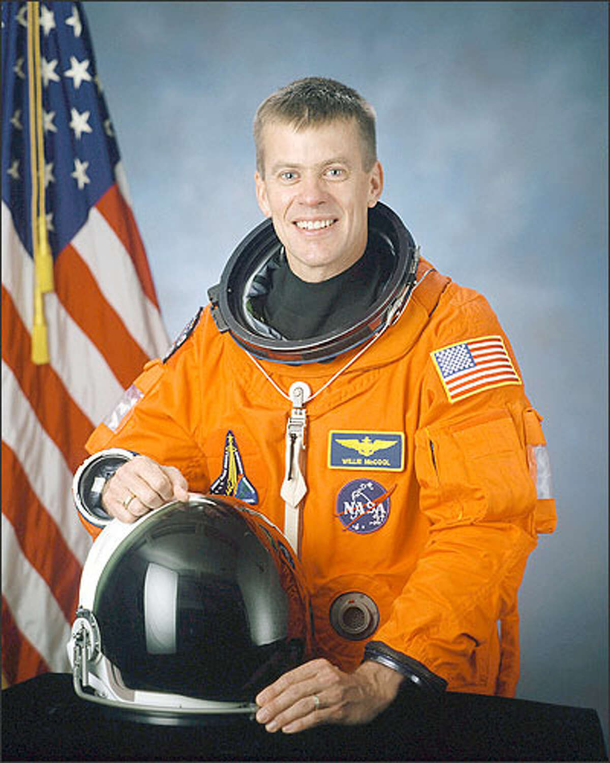 Pilot William C. McCool, 41, Navy commander from Lubbock, Texas, and father of three sons, who was one of the seven astronauts on the space shuttle Columbia, is seen in this undated handout photo from NASA. Space shuttle Columbia broke apart in flames over Texas on Saturday, Feb. 1, 2003, killing all seven astronauts just 16 minutes before they were supposed to glide to ground in Florida.