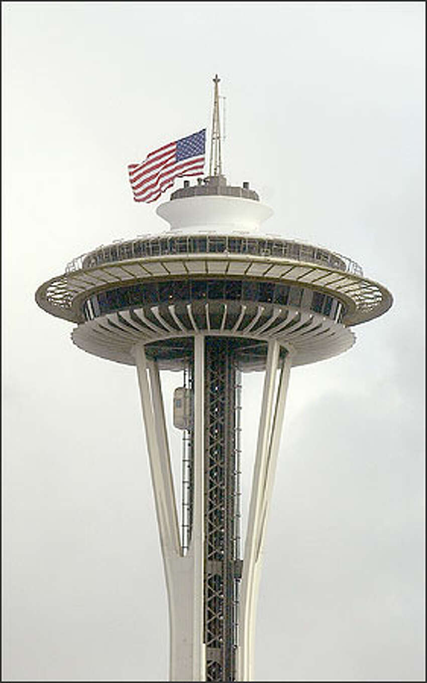 The American flag atop the Space Needle was lowered to half mast in respect for the astronauts who died in the Space Shuttle Columbia this morning.