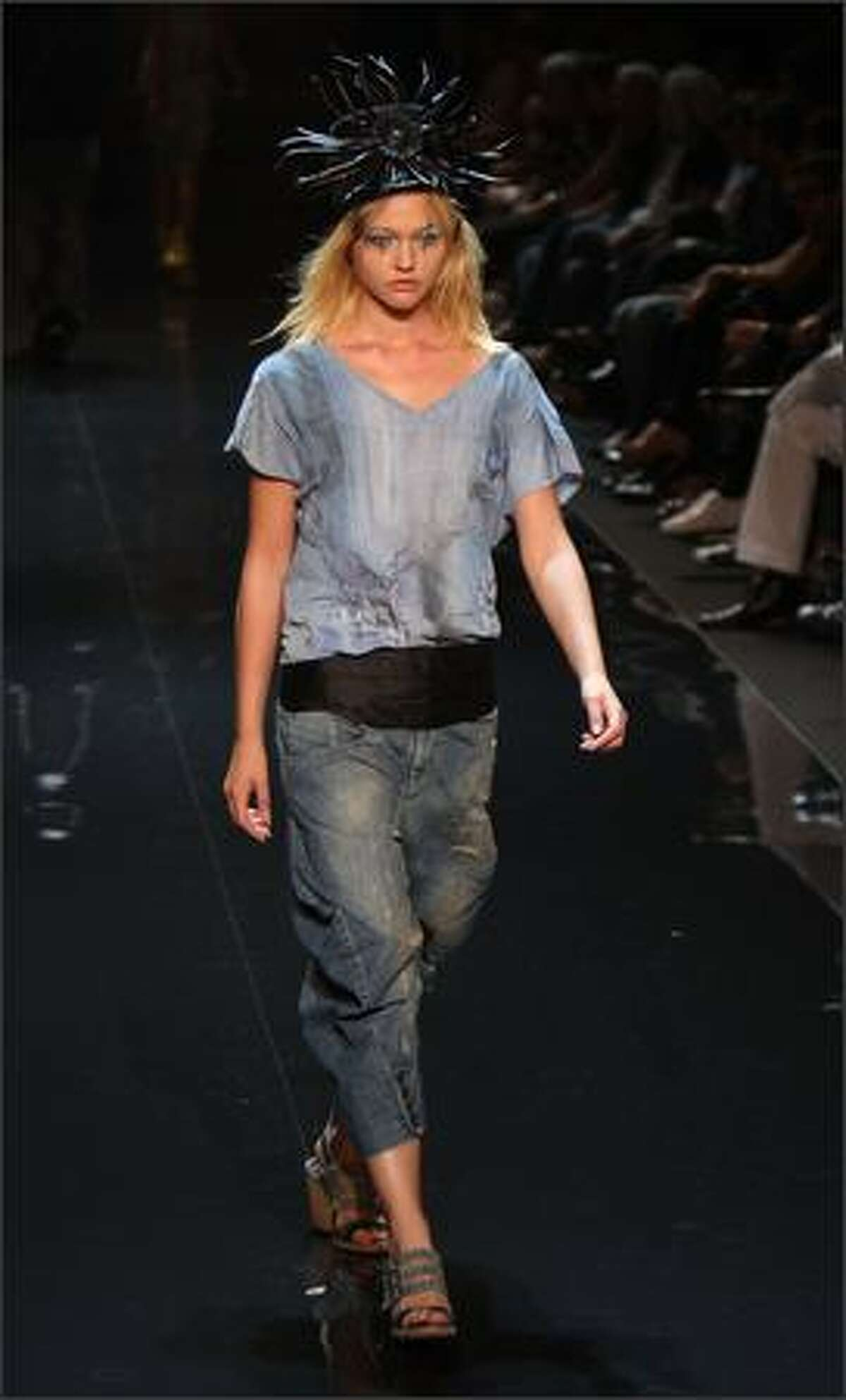 A model walks the runway at the Diesel Spring 2009 fashion show during Mercedes-Benz Fashion Week in New York City.
