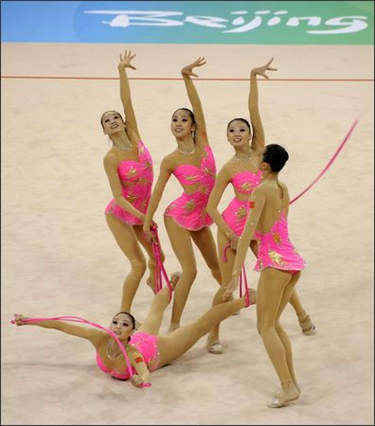 The team of China competes in the group all-around qualification of the rhythmic gymnastics at the Beijing 2008 Olympic Games in Beijing on August 21, 2008.