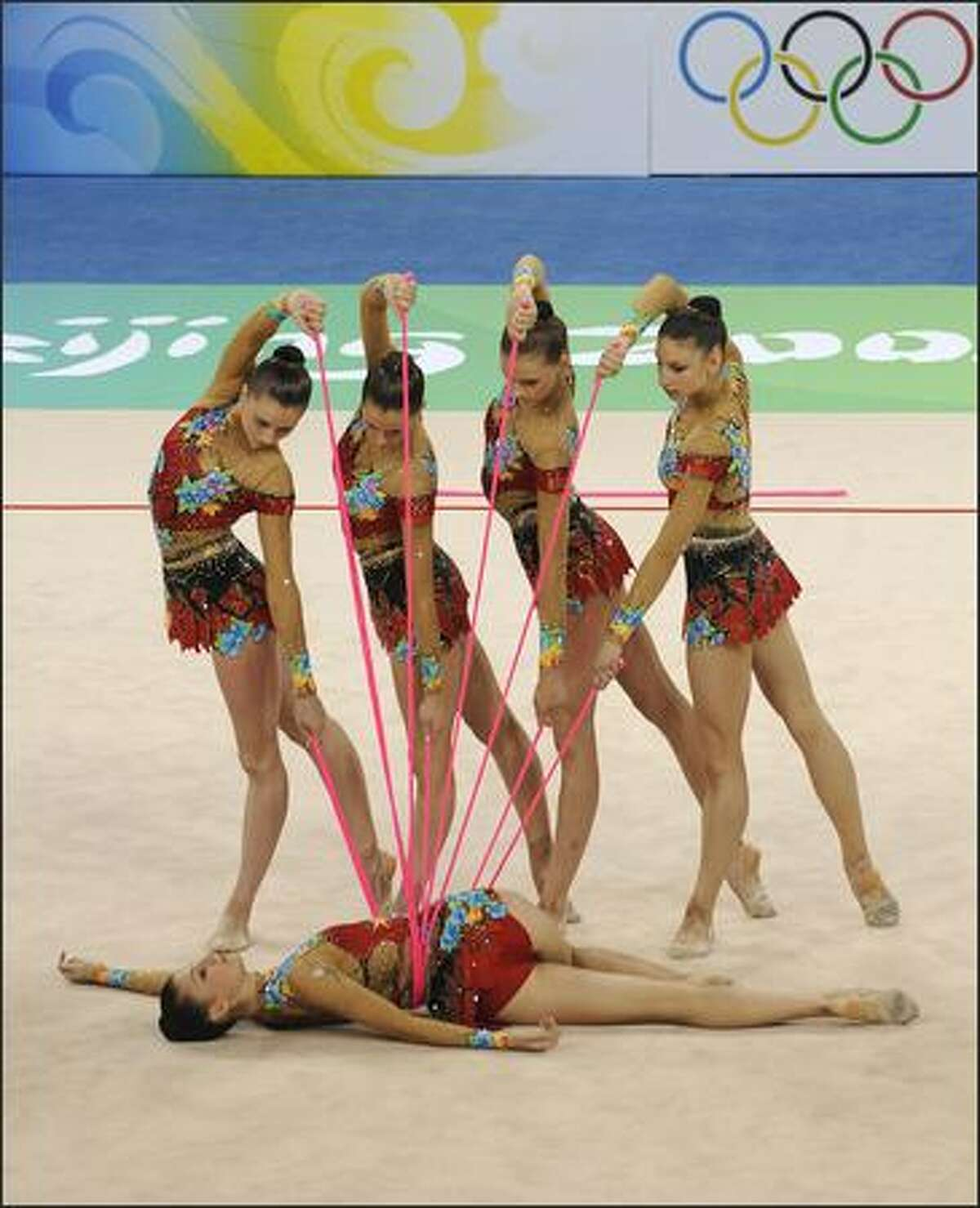 The team of Belarus competes in the group all-around qualification of the rhythmic gymnastics at the Beijing 2008 Olympic Games in Beijing on August 21, 2008.