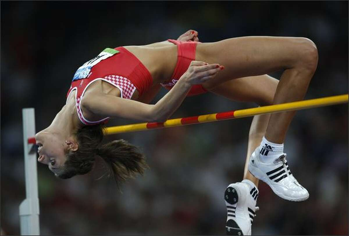 Croatia's Blanka Vlasic competes in the women's high jump final at the National Stadium as part of the 2008 Beijing Olympic Games on August 23, 2008.