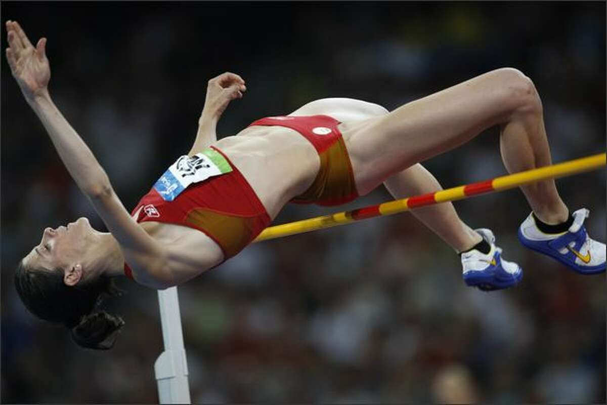 Ruth Beitia of Spain competes in the women's high jump final at the National stadium as part of the 2008 Beijing Olympic Games on August 23, 2008.
