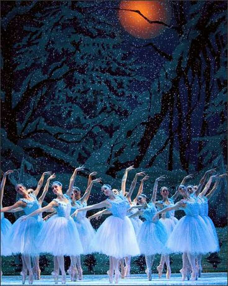 "The Act 1 ""snow"" finale of Pacific Northwest Ballet's 2008 Stowell/Sendak ""Nutcracker."" Photo: Angela Sterling"