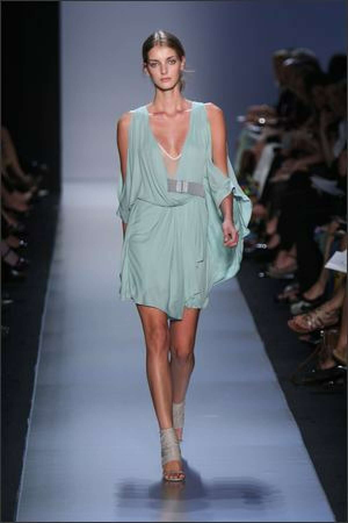 A model walks the runway at the Max Azria show.