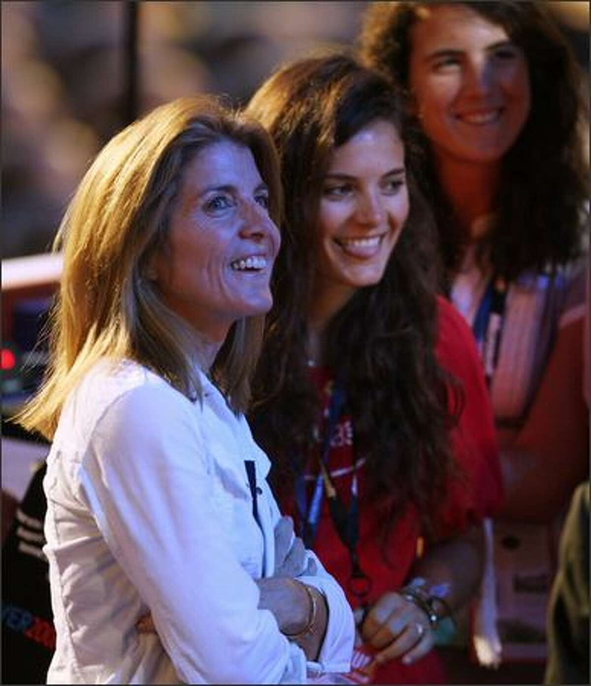 L to R) Caroline Kennedy Schlossberg and daughters Rose Schlossberg and Tatiana Schlossberg2 stand at the podium before the first session of day one of the Democratic National Convention (DNC) at the Pepsi Center on Monday in Denver, Colo.