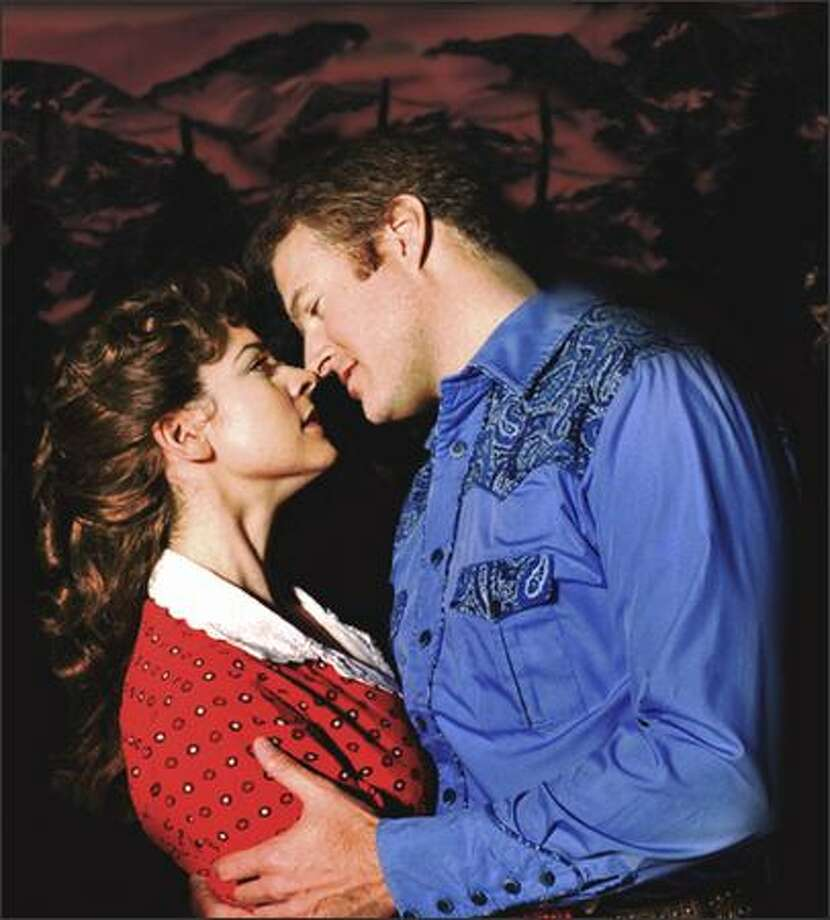 """Milly (Laura Griffith) and Adam (Edward Watts) are """"Goin' Courtin'"""" Photo: Bootsy Holler"""