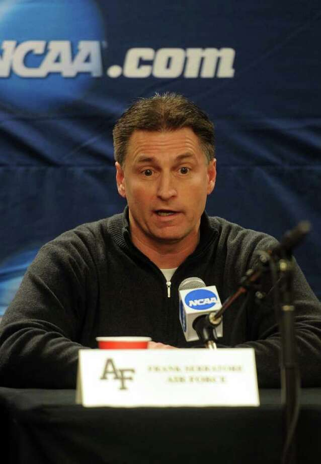 Air Force hockey team coach Frank Serratore speaks at the press conference after practice for the NCAA tournament at Webster Bank Arena at Harbor Yard on March 24, 2011. Photo: Lindsay Niegelberg / Connecticut Post