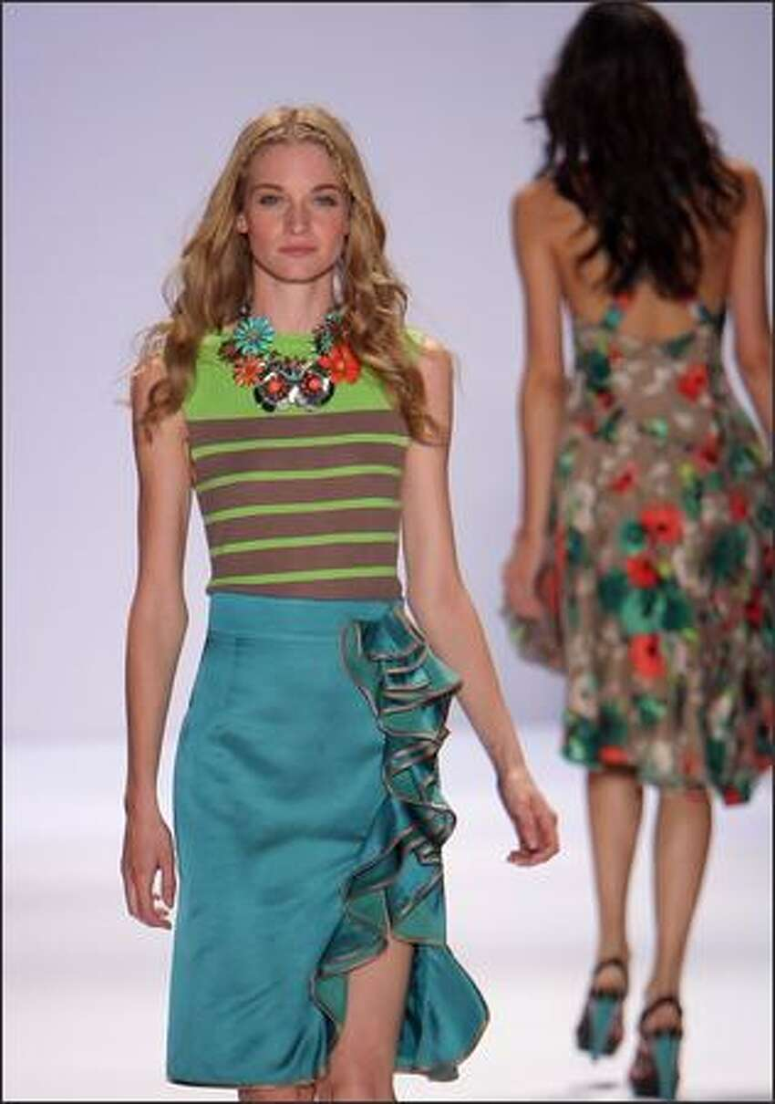 A model walks the runway at Nanette Lepore Spring 2009 fashion show during Mercedes-Benz Fashion Week at The Promenade, Bryant Park, on Wednesday in New York City.