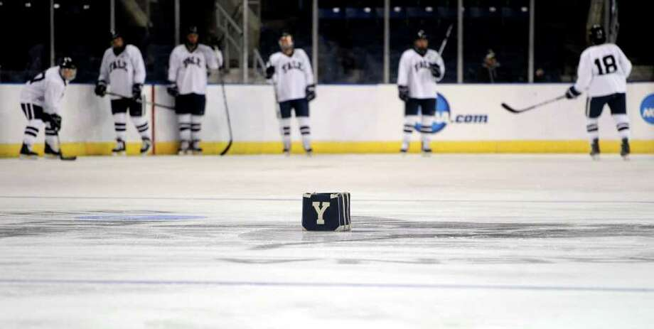 A Yale bag sits on the ice at the hockey team practices for the NCAA tournament at Webster Bank Arena at Harbor Yard on March 24, 2011. Photo: Lindsay Niegelberg / Connecticut Post