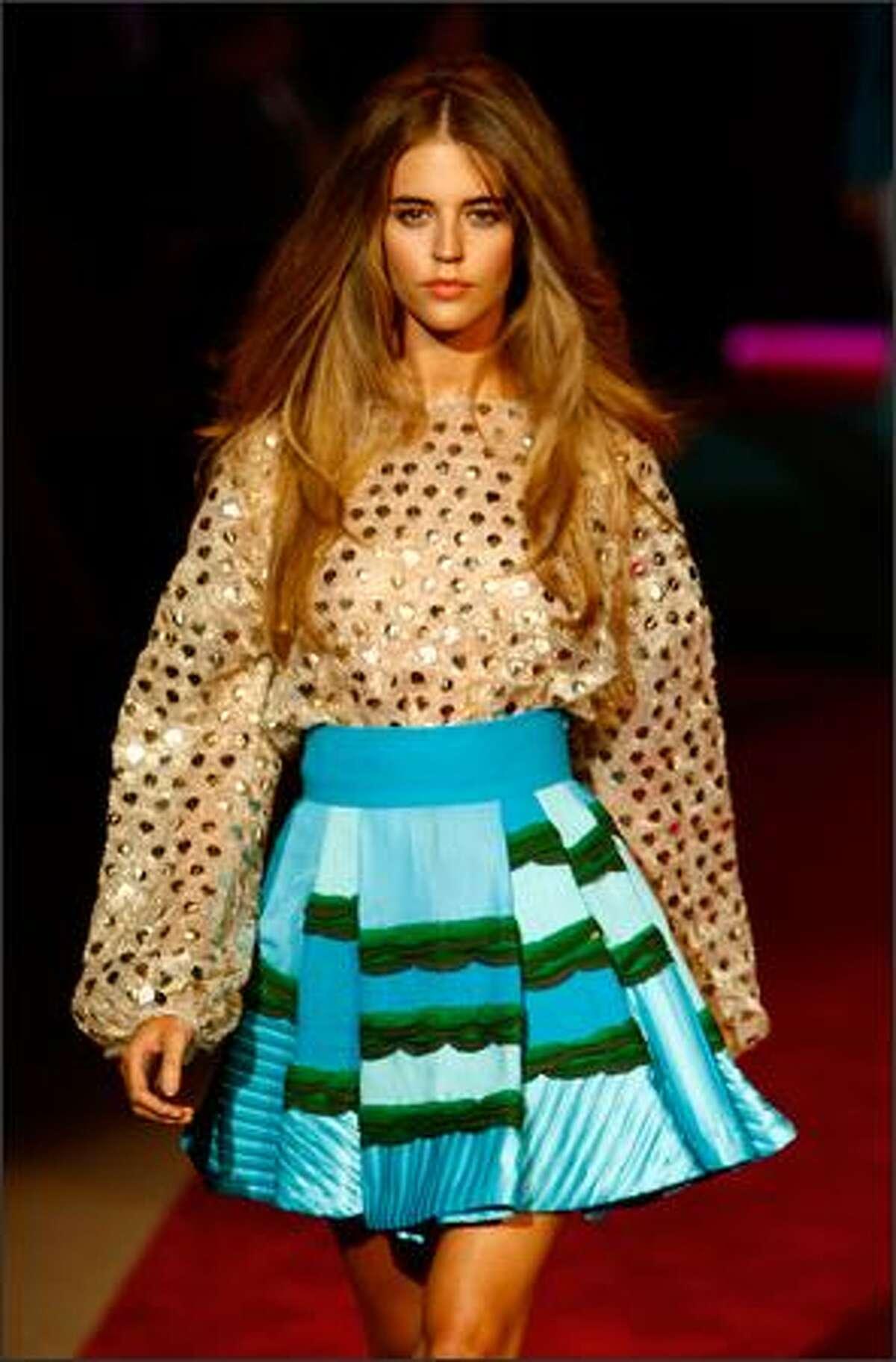 A model walks the runway at the Custo Barcelona show.