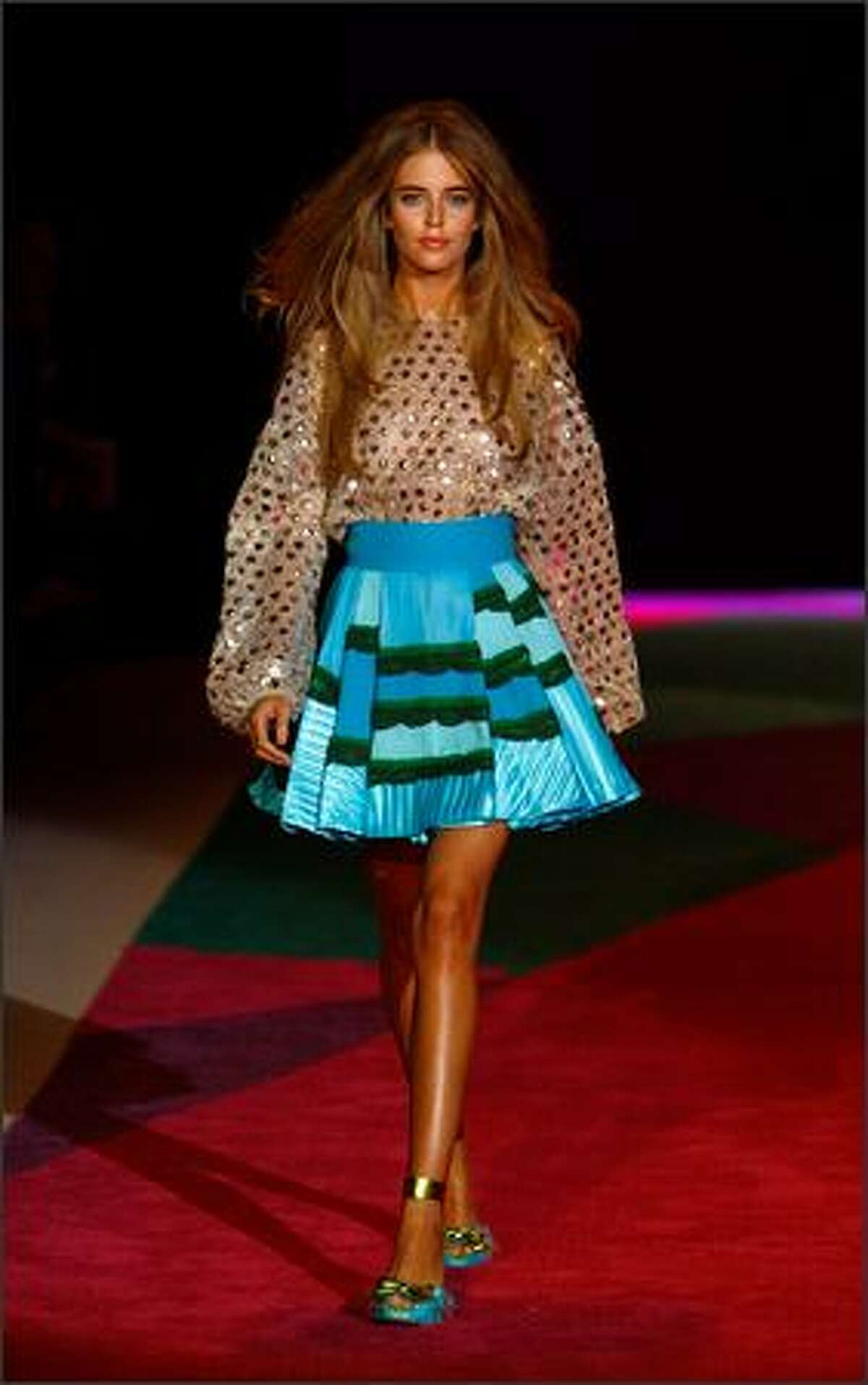 A model walks the runway at the Custo Barcelona show.