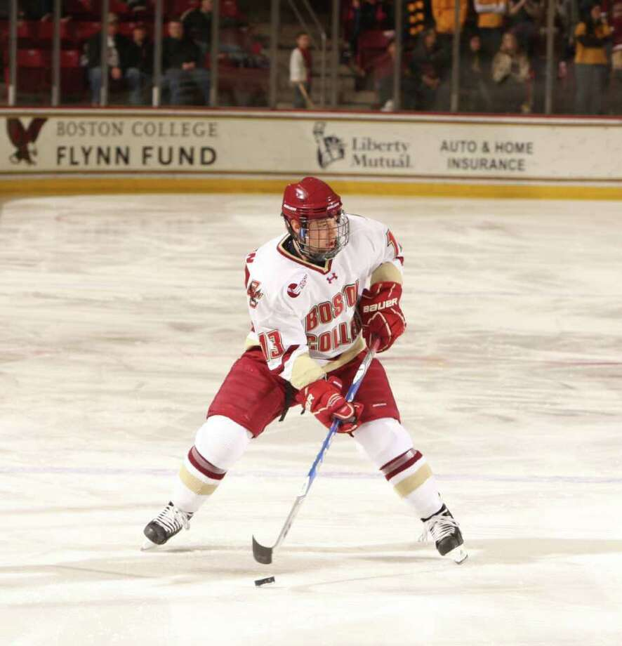 Greenwich native and Boston College forward Cam Atkinson is one of 10 finalists for the Hobey Baker Award. Photo: Contributed Photo, Boston College Athletics/Contributed Photo / Stamford Advocate Contributed